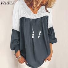 Women's Autumn Blouse ZANZEA Bohemian Lace Patchwork Shirts Casual Long Sleeve Ruffle Tops Female Solid Blusas Plus Size Tunic