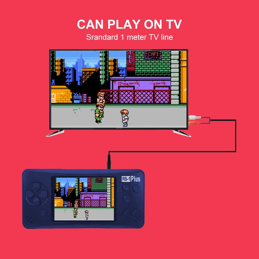 RS-1 Plus Portable Retro Handheld Video Game Console Two Player Classsic FC Gb Boy Color PSP PXP HD Gaming Arcade for Kids 8 bit