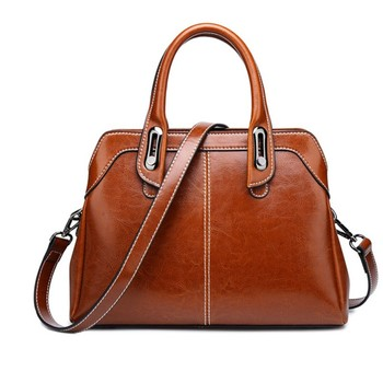2020 new splicing leather women's Bag Shoulder Bag Fashion European and American style leather handbag