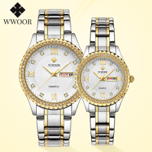 WWOOR 2020 Couple Watch Men and Women Luxury Brand Fashion Diamond Stainless Steel Quartz Pair Lovers Watch Gift Relogio Casais