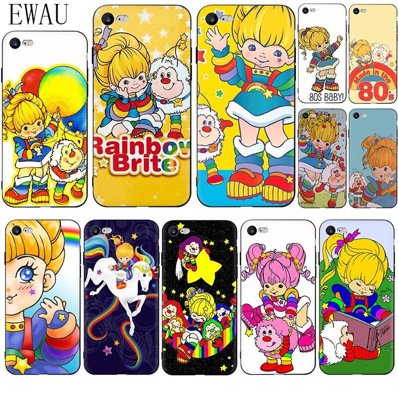 EWAU Rainbow Brite Silicone phone case for iphone 5 5s SE 2020 6 6s 7 8 plus X XR XS 11 Pro Max