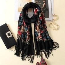 Роскошный бренд кашемировый женский шарф Зимний теплый вышитые шали и обертывания Шерстяной палантин длинный женский фуляр теплое одеяло