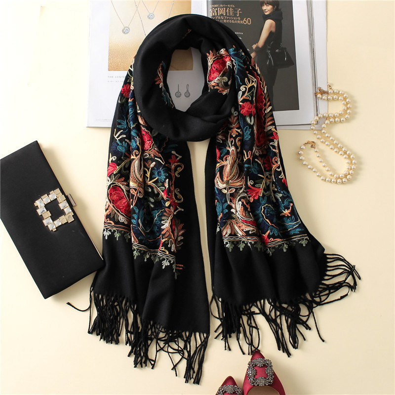 2019 Luxury Brand Cashmere Women Scarf Winter Warm Embroidery Shawls And Wraps Wool Pashmina Long Female Foulard Thicken Blanket
