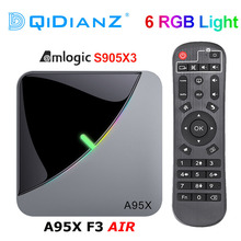 A95X F3 공기 6 RGB 라이트 TV 박스 안드로이드 9.0 Amlogic S905X3 4K 60fps 4 기가 바이트 64 기가 바이트 듀얼 와이파이 4K 60fps 스마트 TV A95XF3