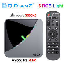 A95x f3 ar 6 rgb luz tv caixa android 9.0 amlogic s905x3 4k 60fps 4gb 64gb wifi duplo 4k 60fps smart tv a95xf3