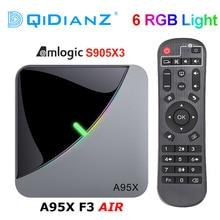 A95X F3 powietrza 6 światło RGB TV, pudełko z systemem Android 9.0 procesor Amlogic S905X3 4K 60fps 4GB 64GB podwójny Wifi 4K 60fps Smart TV A95XF3