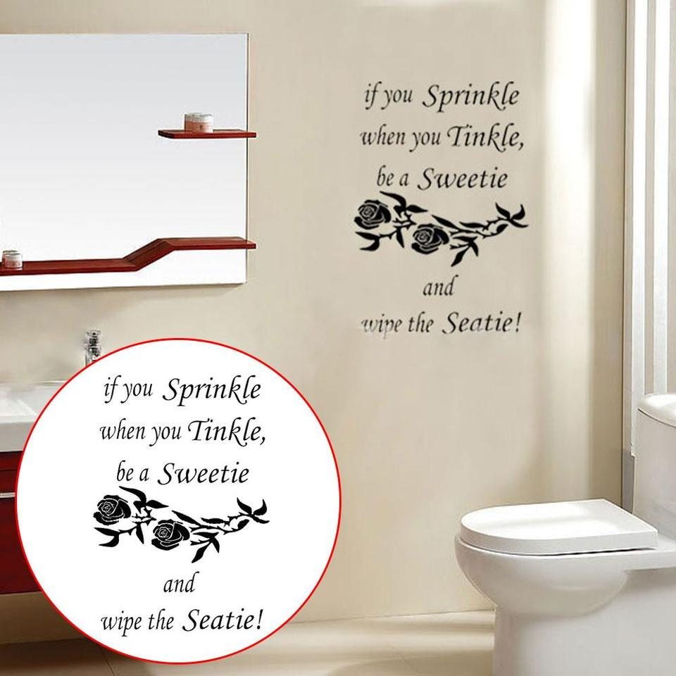 Black Bathroom Decor If You Sprinkle Mural Art Creative Seaty Wall Decals Toilet Seat Sticker Background Sticky Strong Wall Stickers Aliexpress