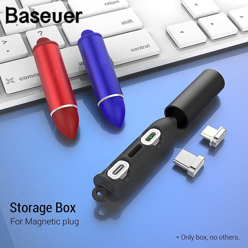 Baseuer Magnetic Cable Plug Box For IPhone Type C Micro USB Fast Charging Adapter Portable Metal Case Storage Box Magnet Charger