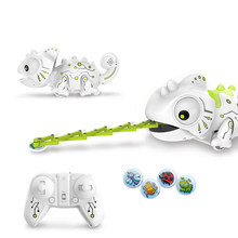 2.4CHz RC Robot Dinosaur Toys Chameleon Pet Changeable Light Remote Control Electronic Model Animal Intelligent Robot Kit Toys(China)