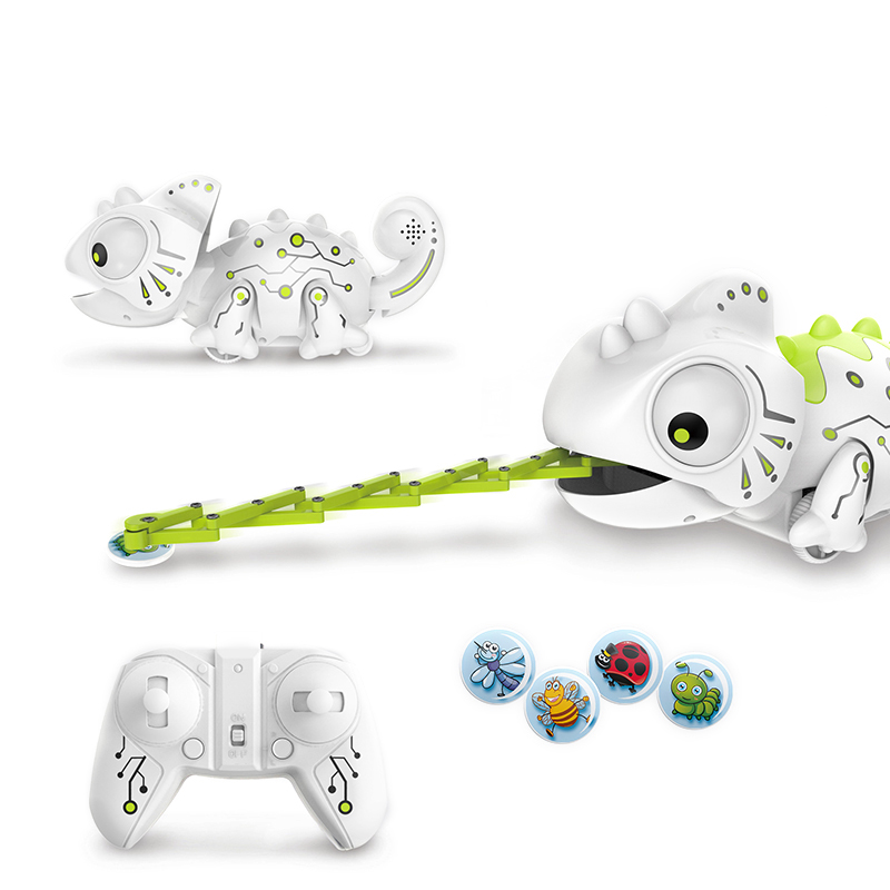 2.4CHz RC Robot dinosaurio juguetes camaleón mascota cambiable luz Control remoto modelo electrónico Animal Robot inteligente Kit de Juguetes