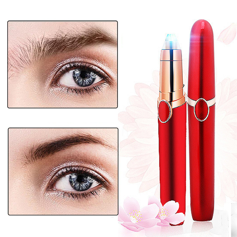 Mini Eyebrow Trimmer Electric Epilator Painless Hair Remover Rechargeable Lipstick Shaver Women Facial Hair Removal with Light