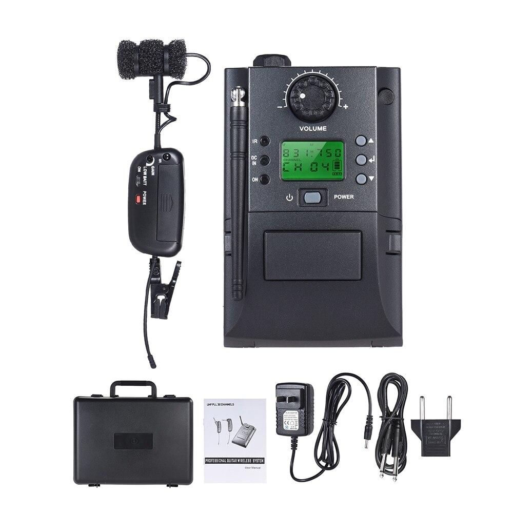 Pince Portable sur Instrument UHF système de Microphone sans fil avec récepteur et émetteur 32 canaux pour Saxophone trompette