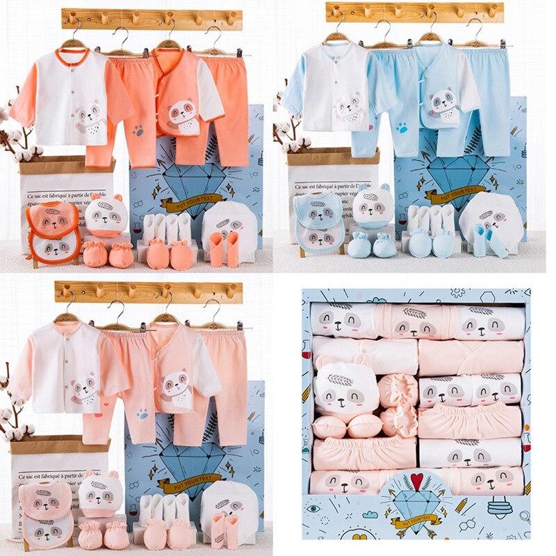 18 piece/lot Newborn Baby Girl Clothes 100% Cotton Infant Baby Girl Summer Clothes Soft Baby Boys Clothing Newborn Bibs Hat