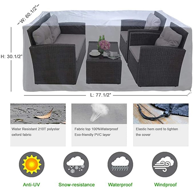 72 Sizes Outdoor Patio Garden Black Furniture Waterproof Covers Rain Snow Chair covers Sofa Table Chair Dust Proof Cover 6