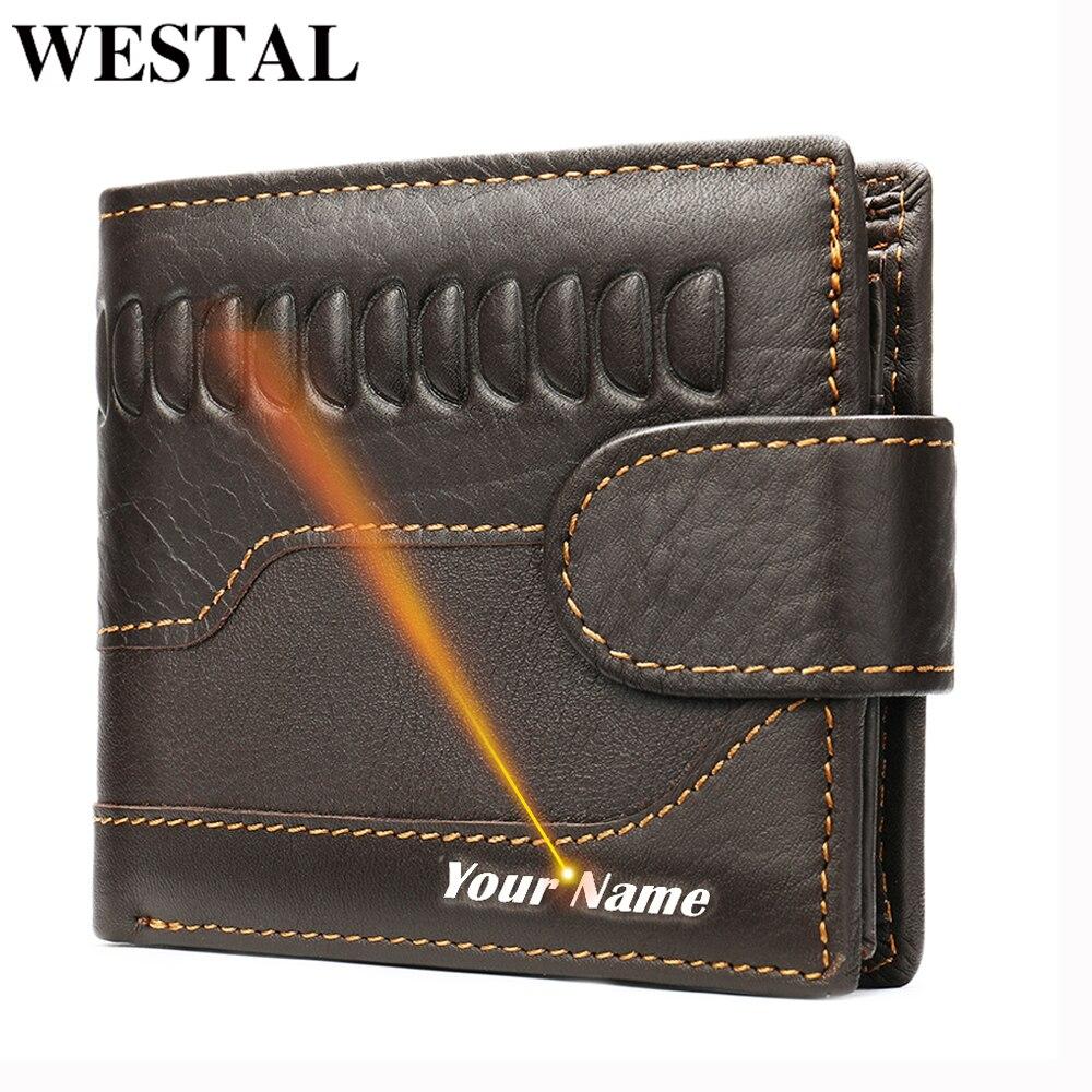 WESTAL Men's Wallet Genuine Leather Vintage Crocodile Pattern Purse For Men's Card Holder Coin Purse Money Slim Wallet Short 703