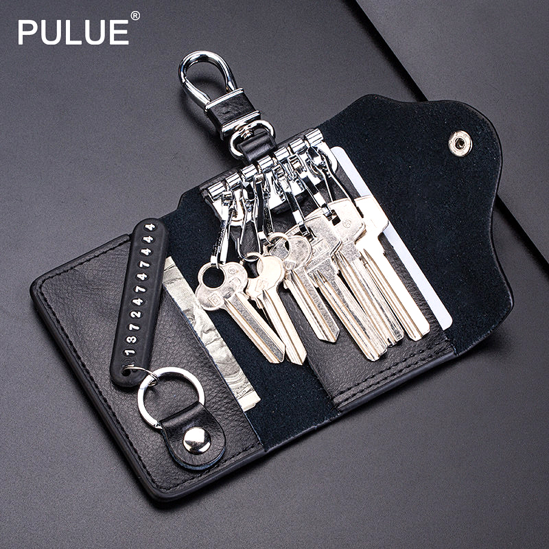 High Quality Genuine Leather Key Holder Men Women Key Wallet Organizer Pouch Car Keychain Housekeeper Key Case Mini Card Bag