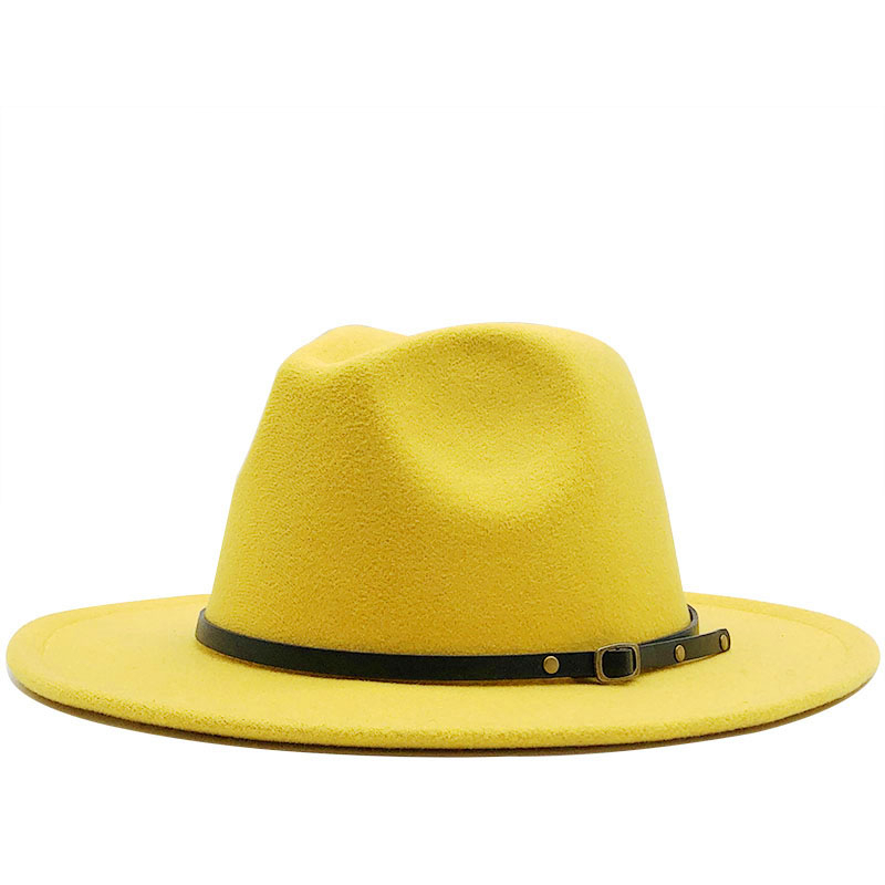 Fashion Men Women Wide Brim Wool Felt Hat Formal Party Jazz Trilby Fedora Hat With Belt Buckle Yellow Orange Yellow Panama Cap