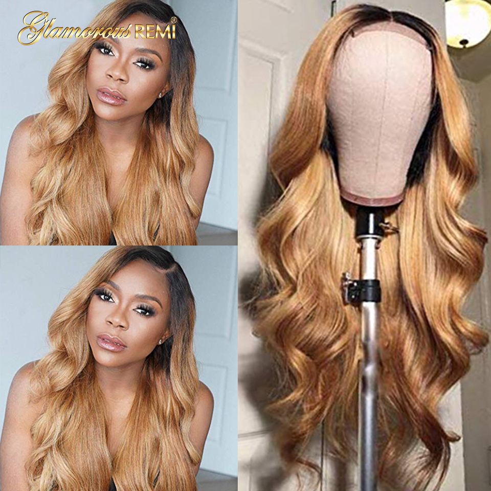 1B/27 Lace Front Human Hair Wigs With Baby Hair Wavy Pre Plucked Ombre Color Brazilian Blond Hair Wigs For Women Bleach Knots