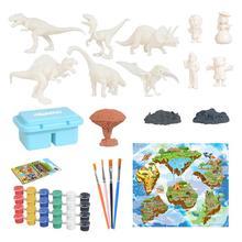 44 56 sztuk DIY kolorowy obraz Model dinozaura zestaw rodzic-dziecko prezent gra mata do zabawy zestaw tanie tanio CN (pochodzenie) Cartoon zwierząt Dinosaur Model Painting Kit Birthday party Dzień dziecka