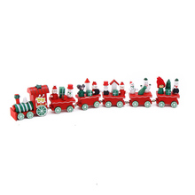 6 Little Christmas Wood Train Painted Toys Home Window Decoration with Santa Xmas tree kid gift ornament navidad new year gift