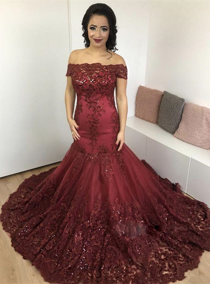 Bling Bling Burgundy Mermaid   Prom     Dresses   Lace Appliques Off the Shoulder Luxury Evening Gown 2019 vestidos de gala