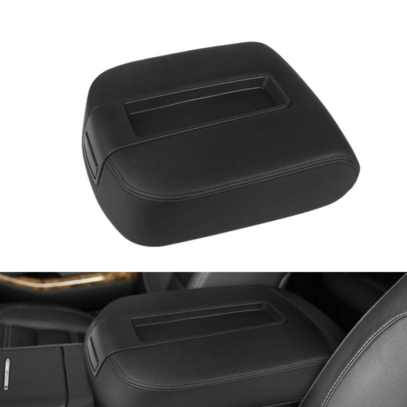 For Chevy Silverado 1500 2500 3500 LT LTZ LS 2007-14 Armrest Lid Cover PU Black