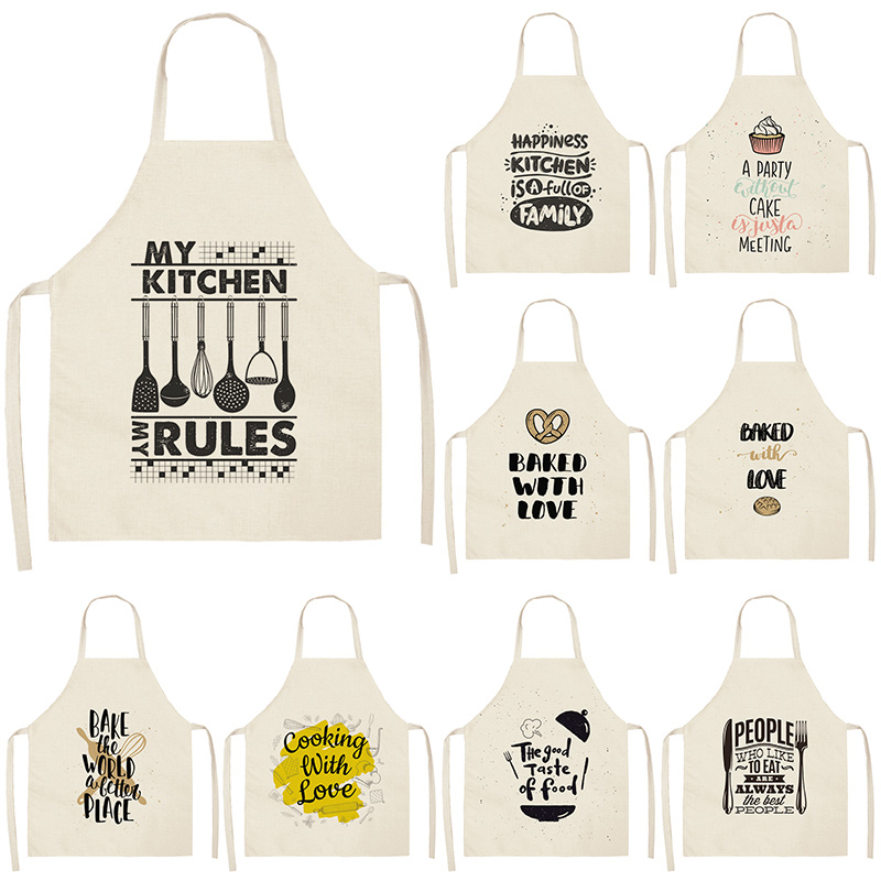 1Pcs Letter Alphabet Kitchen Aprons For Women Cotton Linen Bibs Household Cleaning Pinafore Home Cooking Apron 53*65cm WQL0178