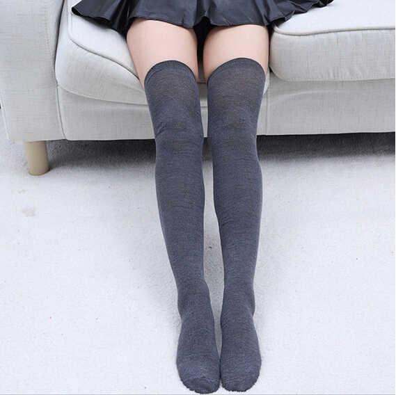 Для женщин из хлопка длиной выше колена гольфы, чулки в сеточку однотонные теплые сапоги до бедра, Чулки с эластичным бортом