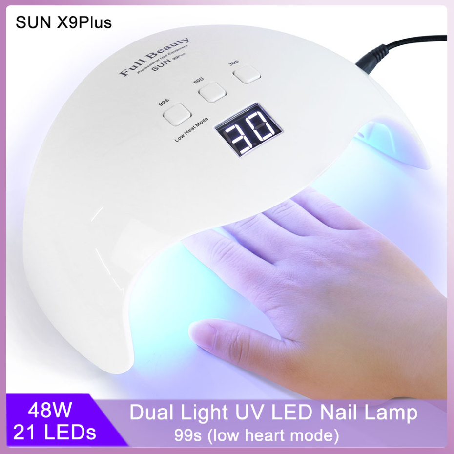 48W Nail Lamp Dual Light UV LED Dryer For Manicure Curing Gel Polish Lamp 30s/60s/99s Low Heat Mode Nail Art Tools LASUNX9Plus-1