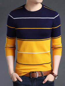 Men Sweater Jumpers Woolen Knitred Korean-Style Striped New-Fashion Slim-Fit Autumn Casual