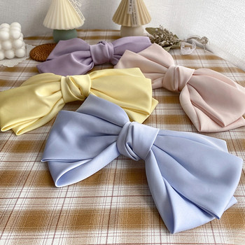 Fashion Solid Color Big Large Bow Hairpins For Girls Two Levels Hair Clip Chiffon Satin Hairgrips Barrettes Hair Accessories 1 set 2pcs 4 5 girls 2 color linen plaid hairgrips hairbow hair accessories with alligator clip handmade for children hair bow