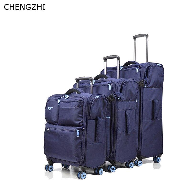 "CHENGZHI  20""24""28inch ultra-light travel suitcase oxford rolling luggage set women boarding case men trolley suitcase on wheel"