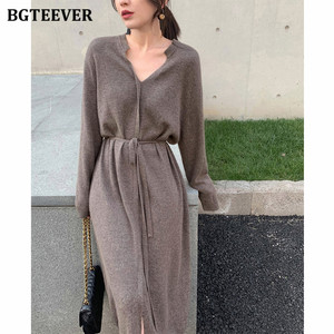 BGTEEVER Vintage Women Knitted Dress Autumn Winter Brief V-neck Warm Drawstring Lace-up Loose Midi Female Sweater Dress 2020