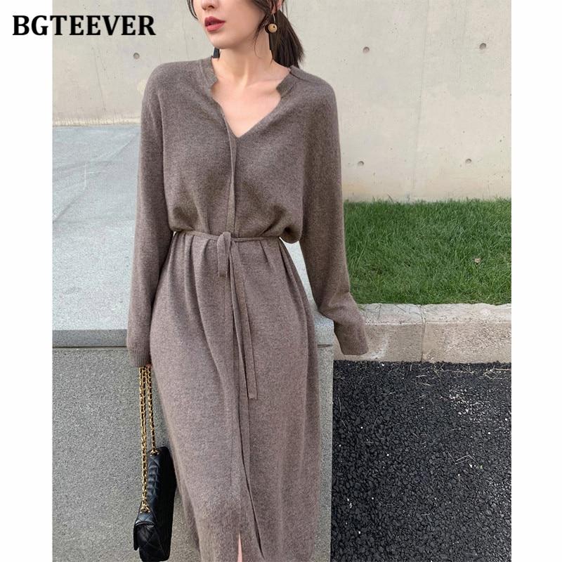 Винтажное женское трикотажное платье BGTEEVER, осенне зимнее короткое теплое платье свитер средней длины на шнуровке с V образным вырезом, 2020|Платья| | АлиЭкспресс