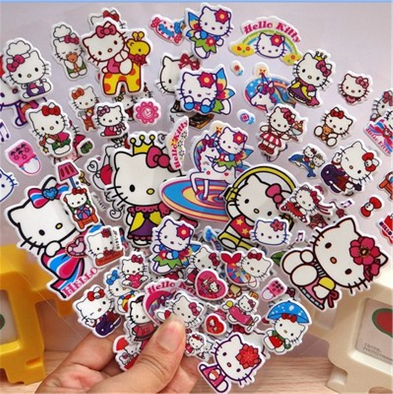 Cute Fairytale Fantasy Little Red Flower Reward Bubble Children Hello Kitty Cartoon Anime Sticker Puzzle Early Education 3D Stic