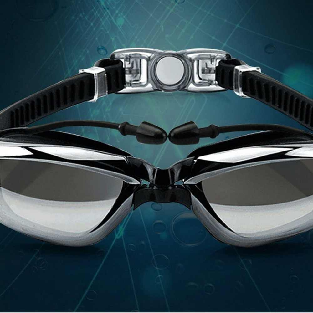 Hd Bijziendheid Waterdicht En Anti-fog Zwemmen Bril Voor Mannen En Vrouwen Groot Frame Plating Spiegel Met Oordopjes Goggles