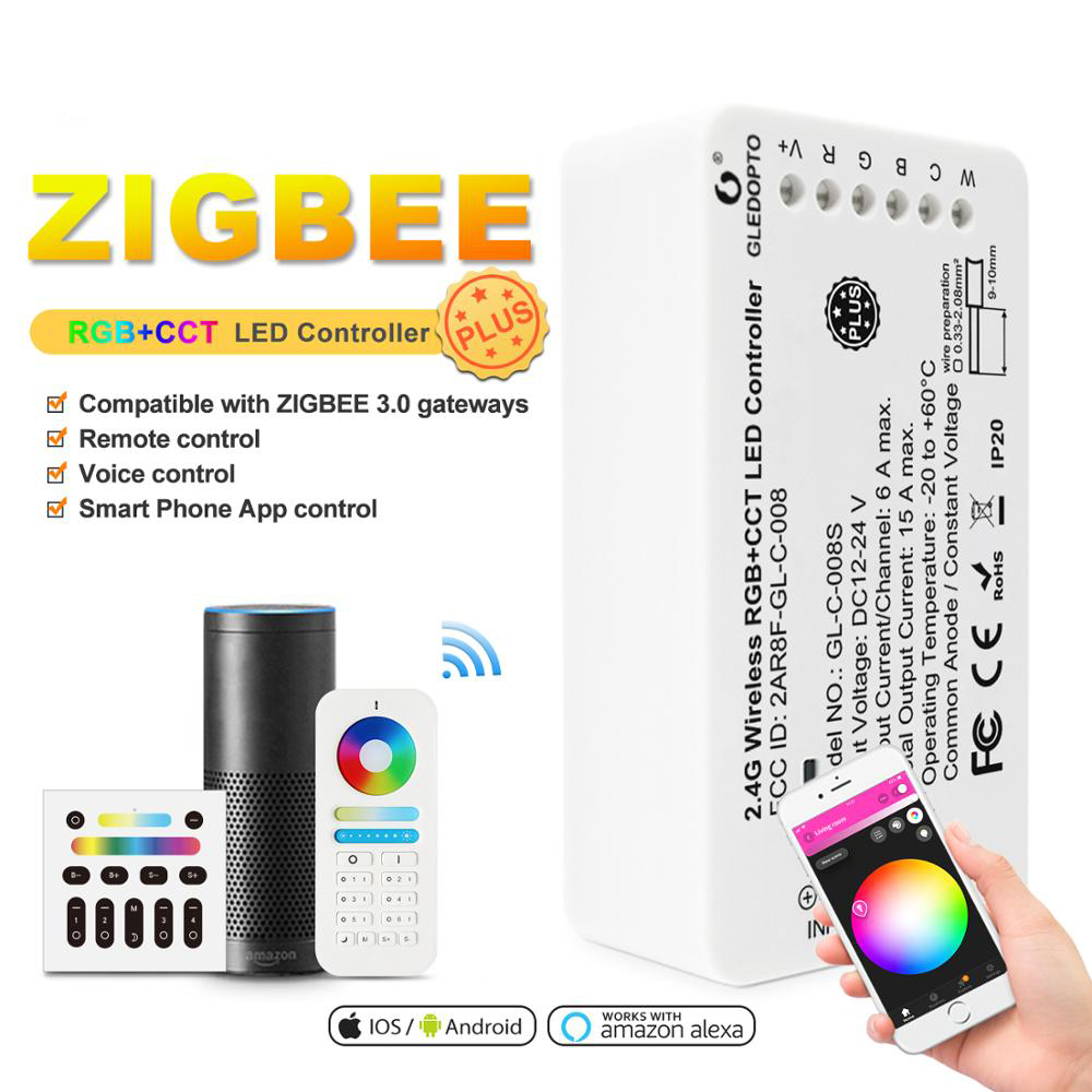 ZIGBEE RGBCCT Controller Plus,for LED Strip,DC12V/24V,Smart Speaker,mobile Phone,remote Control,Panel Control