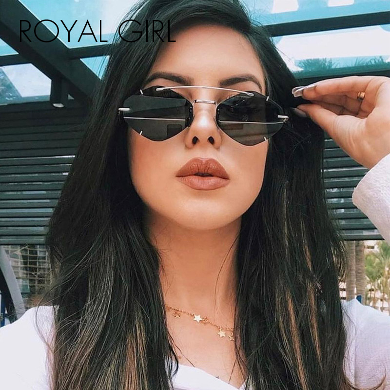 ROYAL GIRL Personality Frameless Polygon Ladies Sunglasses 2020 New Brand Designer Ultra Light Punk SSunglasses Ss363