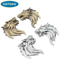 AQTQAQ 2 unids/par (izquierda + derecha), cabeza de Lobo de Metal 3D, pegatina de coche para motocicleta, Logo, decoración del emblema, estilo de coche