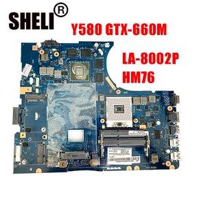 For Lenovo laptop motherboard Y580 GTX-660M GTX660M GTX-660 GTX660 2GB 2G QIWY4 LA-8002P HM76 notebook pc mainboard main board(China)