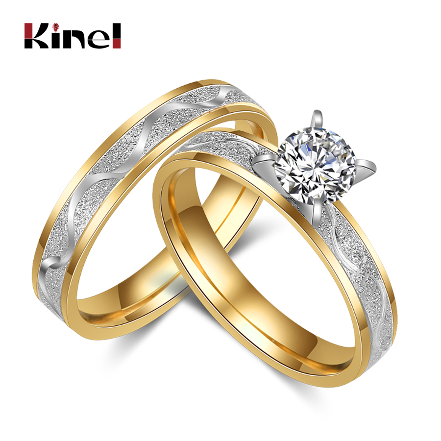 Kinel Simple Stainless Steel Wedding Ring For Women Men Never Fade Gold Color Female Male Classic Engagement Alliance Ring Sets