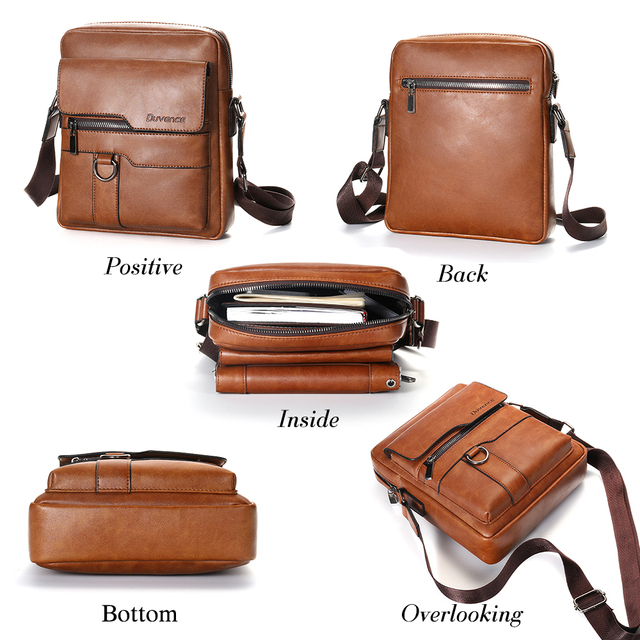 "Fashion Men Shoulder Bag for 10.5"" ipad Men PU Leather Flaps Men's Crossbody Bags Business Brown Flap Male Solid Messenger Bag 2"