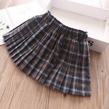 Осенняя клетчатая юбка с эластичной резинкой на талии для девочек, детская одежда