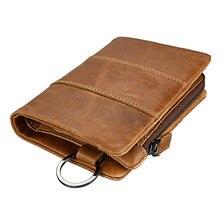 Vintage Crazy Horse Wallets Genuine Leather Short Men Wallet with Key Ring RFID Card Holder Cowhide Coin Wallets Men's Purse