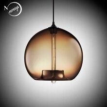 Lámparas colgantes de bolas de cristal de colores, luces led e27 / e26 modernas, T225, para restaurante, sala de estar, cafetería, bar, 6 colores