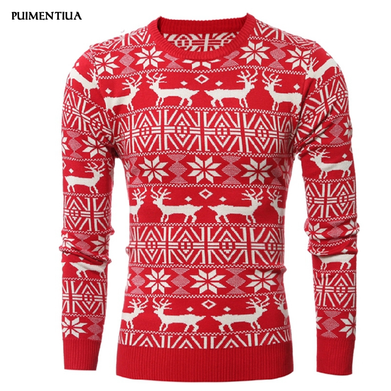 2020 New Christmas Style Men Autumn Winter Pullover Sweater Deer Printed Long Sleeve Thicken Warm O-Neck Sweaters Men