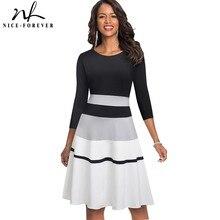 Nice forever Retro Elegant Contrast Color Patchwork vestidos Business Party Flare A Line Women Winter Dress A173