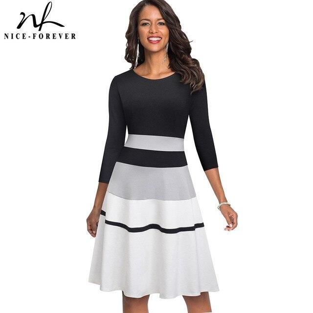 Женское лоскутное платье Nice forever, элегантное контрастное деловое вечернее платье трапеция в стиле ретро, модель A173 на зиму, 2019