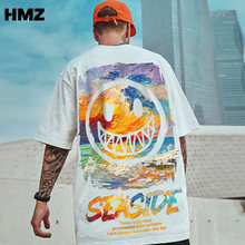 HMZ Hip Hop Tee Men T Shirt Short Sleeve Loose Oil Painting Smiley Tshirt Summer Male Streetwear Oversized tshirt Men's Clothing