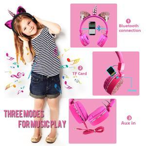 Image 4 - Fone de ouvido sem fio de unicórnio para crianças, headset estéreo com bluetooth, estéreo, desenho animado, para adultos, meninos e meninas, presentes